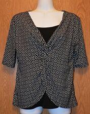 Womens Black & White George Short Sleeve Shirt Size Medium 8 10 excellent