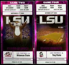 2 Rare 2004 LSU Tigers Football Game Ticket Stubs Arkansas State & Troy State