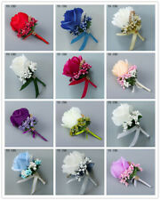 Bride Groom Corsage Artificial Silk Rose Boutonniere Wrist Flower Blue PinBrooch