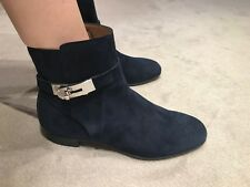 HERMES NEO BLUE MARINE SUEDE LEATHER LOW BOOTS PALLADIUM KELLY HARDWARE SIZE 38