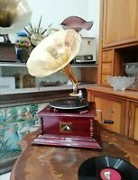 COLLECTABLE His Master Voice Gramophone with Brass Horn / WIND UP GRAMOPHONE.