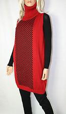 Cora kemperman Diseñador Vestido de punto MOHAIR TALLA S Cuello Cisne Rojo