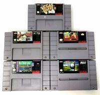 SNES Super Nintendo 5 Game Bundle: Vegas Stakes, Super Black Bass, Tennis, Golf