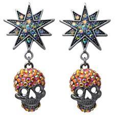 KIRKS FOLLY STARLIGHT SKULL KING PIERCED EARRINGS  orange / antique silvertone