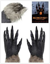 1Pair Halloween Werewolf Wolf Paws Claws Cosplay Gloves Creepy Costume Party AL