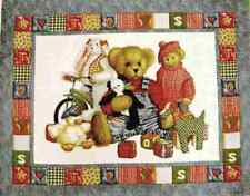 BLUE JEAN TEDDY bear fabric teddy TOYS baby quilt top cotton fabric BTP NEW