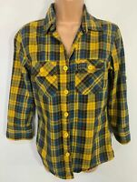 WOMENS SUPERDRY BLUE&YELLOW CHECK 3/4 SLEEVE CREW NECK SHIRT BLOUSE TOP SIZE M