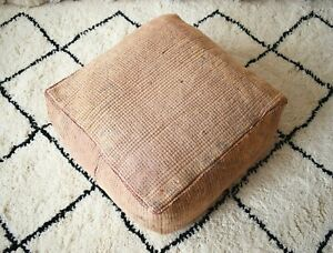 Moroccan Floor cushion, Moroccan Vintage Handmade wool pouf, pink Floor pillow