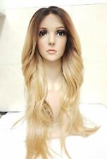 Blonde Human Hair Wig, Real Hair, side fringe, Ombré, Dark Roots
