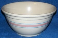 """MCCoy Pottery 0112 Pink & Blue Striped Mixing Batter Bowl 12"""""""