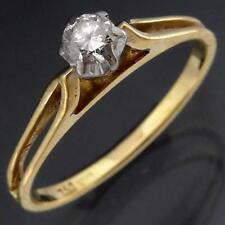 Classic High Set 18k Solid Yellow GOLD SOLITAIRE DIAMOND RING Sz L1/2