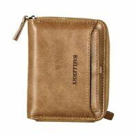Men's Mens Leather Bifold Credit ID Card Holder Wallet Zipper Coin Pocket Purse