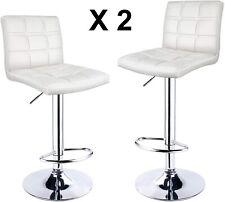 Set Of 2 Adjustable Bar Stools With Back Double Needle Sewing Swivel Stool White
