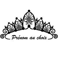Sticker Décoration Couronne de princesse coeurs + Prénom  (20x39 cm à 30x57 cm)