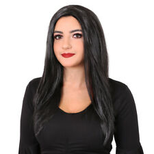 LADIES LONG BLACK WIG STRAIGHT MIDDLE PARTING HALLOWEEN FANCY DRESS MORTICIA