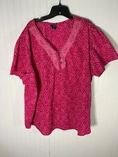 Basic Editions Womens Plus Size 3X Blouse Pink Top Short Sleeve
