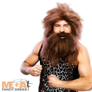 Caveman Wig & Beard Mens Fancy Dress Prehistoric Adults Costume Outfit Accessory
