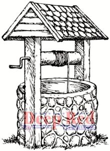 Deep Red Stamps Wishing Well Rubber Cling Stamp