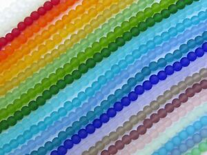 Bead Supplies Cultured SEA GLASS BEADS 4mm round 23 Strand assorted color lot