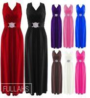 New Womens Evening Dress Bridesmaid Buckle Long Elegant Cocktail Plus Size 8-26