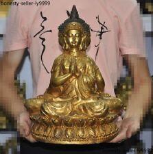 Old Thailand Buddhism Fane bronze Gilt 3 Medicine Buddha Sakyamuni Buddha statue
