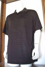 XL Men Marc Edwards Short Sleeve Polo Shirt Espresso Stripe 100% Polyester EUC