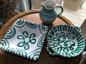 Gmundner Keramik Austria Dizzy Green Dish Set Of 3