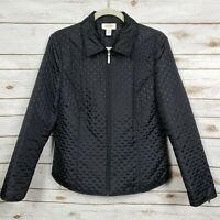 Talbots Black Insulated Polka Dot Full Zip Lightweight Basic Jacket Size 10