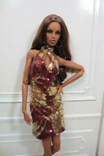 Halter Sequin Dress in Gold and Maroon for Kingdom Doll by YumYum Couture