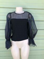 NWT ZARA Woman Black TOP WITH ORGANZA TRIMS Front Text Long Sleeve Size S 4246