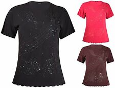 Womens Plus Size Top Round Neck Sequin Embossed Ladies Long Short Sleeve T-Shirt