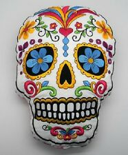 White Sugar Skull Mexican Day of the Dead Dia de Los Muertos Embroidered Pillow
