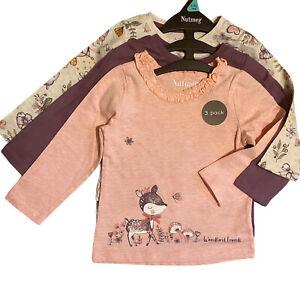 3 x Nutmeg Baby Girls Kids Multipack long sleeve tops T-shirts Woodlands Animals