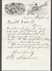 BRISTOL, CT ~ SESSIONS FOUNDRY CO. ~ 1884 ILLUSTRATED LETTERHEAD TO WATER CO.