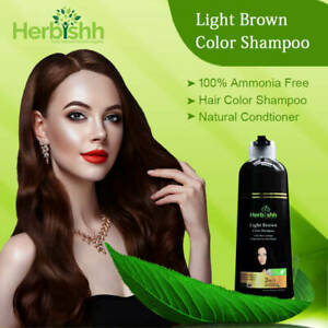 500 ML HERBISHH COLOR SHAMPOO HERBAL HAIR COLOR DYE AMMONIA FREE LIGHT BROWN