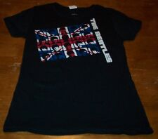 WOMEN'S TEEN JR'S THE BEATLES A HARD DAY'S NIGHT British Flag T-shirt LARGE NEW