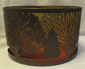 Yankee Candle Jar Shade Ombre TREES Brown Metal Orange to Yellow Frosted Glass