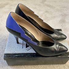 Jacques Vert Ladies Designer Black & Blue Kid Leather Court Shoes.UK 7.Worn Once
