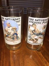 Vintage Arby's Collector Norman Rockwell Saturday Evening Post Glasses (Mh)