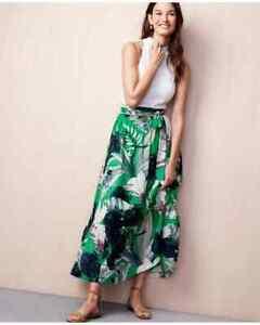 Ann Taylor - Petite 10P Vivid Green Palm Leaf Maxi Skirt $129 (H)
