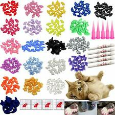 100 Pcs Soft Pet Cat Paws Grooming Nail Claws Caps Covers Adhesive Glue Small