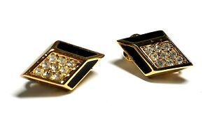 CHRISTIAN DIOR YELLOW TONE Black Inlay & Clear Stone Clip On Earrings  - P32