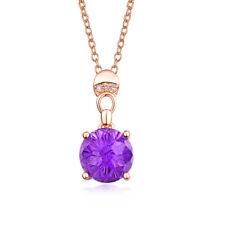 Jewelry 14K Rose Gold Diamond Purple Amethyst Engagement Wedding Women Pendant