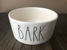 "RAE DUNN Dog Pet ""BARK"" Food Water Bowl FARMHOUSE Stoneware NEW"
