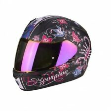 Casco Scorpion Exo-390 Chica Matt Black-pink talla XS