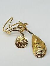 Gold Tone Sterling Silver Ear Cuff Earring Sea Shell Starfish