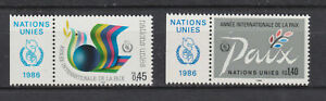 s10763) UNITED NATIONS (GENEVE) MNH** 1986, International year of peace 2v + LAB