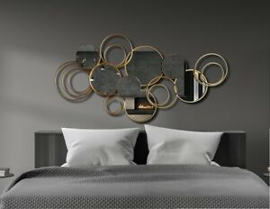 137cm Metal Wall Art with Mirrors in Gold Hanging Sculpture Home Decor