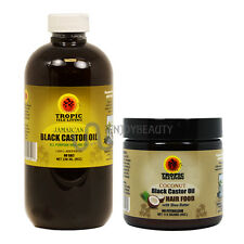 Tropic Isle Living Jamaican Black Castor Oil 8oz & Coconut Hair Food /applicator