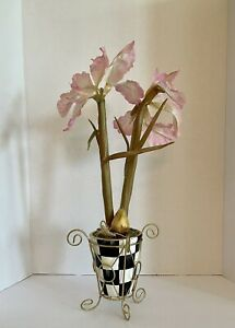 """Mackenzie Childs Inspired 20"""" Pink Orchid Topiary Hand Painted Courtly Check"""